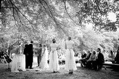 Ceremony at edge of pasture. Kellum Valley Farm