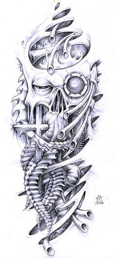 Biomechanical Face And Skull Tattoo Designs - Tattoo Ideas