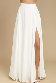 The Thoughts of You White Two-Piece Maxi Dress is always on our mind! Soft and breezy woven poly two-piece dress with a lace-up crop top and maxi skirt.New Wedding Party Dress Outfits Crop Tops IdeasAbout half this length tho White Skirt Outfits, White Maxi Skirts, Long Skirt Outfits, White Dress, Maxi Skirt With Slit, White High Waisted Skirt, Skirts With Slits, Long Skirts, Chiffon Skirt