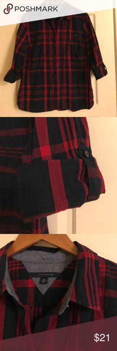 Tommy Hilfiger Plaid Shirt Like New navy and red plaid shirt with loop and button to cuff sleeves. Tommy Hilfiger Tops Button Down Shirts