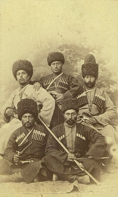 Five Chechen men dressed in the chokha male dress of the Caucasus, late 19th century