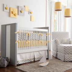 Gray and Yellow Zig Zag Crib Bedding by Carousel Designs. Bold, modern and contemporary best describes this nursery collection. Featuring our white and gray chevron design on a soft 100% cotton twill, this collection is the perfect gender neutral bedding for your new arrival.