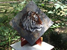 Acrylic Painting of Tiger on slate by ADragonflysFancy on Etsy, $74.99