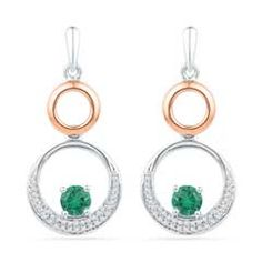 Zales 4.3mm Lab-Created Emerald and 1/5 CT. T.w. Diamond Double Circle Drop Earrings in Sterling Silver and 10K Rose Gold