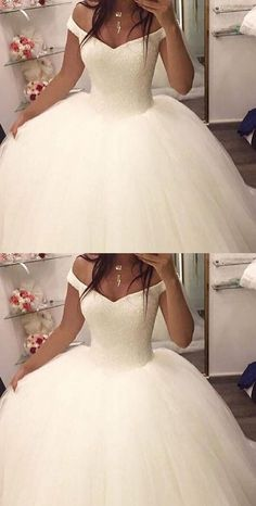 Off the shoulder ball gown wedding dresses,bridal gown, 2017 ball gown wedding dresses, dresses for bridal, elegant prom dresses - Quince Dresses, Ball Dresses, Bridal Dresses, Dresses Dresses, Puffy Wedding Dresses, Cinderella Wedding Dresses, Dresses Online, Pretty Wedding Dresses, Bridesmaid Dresses