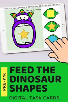 Kids will feed the dinosaur the leaf or meat with the matching 2d shape. Use these task cards as a fun center to improve math skills in preschool and kindergarten. This digital resource is compatible with google classroom and seesaw and perfect for distance or homeschooling.  #digital #boom #task cards #math #count #number #pre-k #preschool #kindergarten #dinosaur #animal #fossil #paleontology #shape #geometry Interactive Learning, Learning Games, Educational Activities, Circle Time Games, Seesaw, Preschool Kindergarten, Math Skills, Google Classroom, Business For Kids
