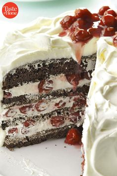 German Black Forest Cake Recipe from Taste of Home -- shared by Stephanie Travis of Fallon, Nevada. This cake offers a variation on traditional decorations for a Black Forest Cake. Food Cakes, Cupcake Cakes, Cupcakes, Baking Recipes, Cake Recipes, Dessert Recipes, Healthy Recipes, German Black Forest Cake, Black Forest Cake Germany