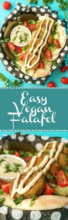 Crispy and perfectly browned vegan falafel served with a garlic tahini sauce. This vegan falafel recipe is simple, flavorful and filling! Vegan Falafel Recipe, Vegan Lunch Recipes, Vegan Lunches, Vegetarian Recipes Easy, Delicious Vegan Recipes, Vegan Foods, Vegan Dishes, Healthy Recipes, Recipes Dinner
