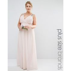 Tfnc Plus Wedding Wrap Embellished Maxi Dress ($89) ❤ liked on Polyvore featuring dresses, pink, plus size, tall dresses, womens plus size maxi dresses, tall maxi dresses, pink wrap dress and plus size maxi dresses