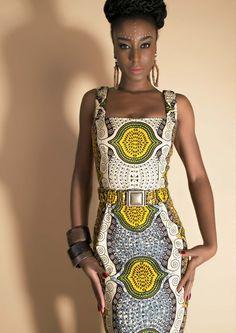 """Daktari Dress lemon vibe"" www.lenahoschek.com ~African fashion, Ankara, kitenge, African women dresses, African prints, Braids, Nigerian wedding, Ghanaian fashion, African wedding ~DKK"