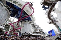 Inside Harmony of the Seas — the world's largest cruise ship:     One of the highlights of the ship is The Ultimate Abyss — a trio of 10-deck-high roller-coaster water slides. The 100-foot drops are, according to owners Royal Caribbean, the highest water slides at sea.