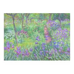 Claude Monet Iris Garden Giverny Floral Cotton Linen Tablecloth 60