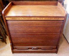 Stunning Tambour Door Antique Oak Office Storage Filing Cabinet ...