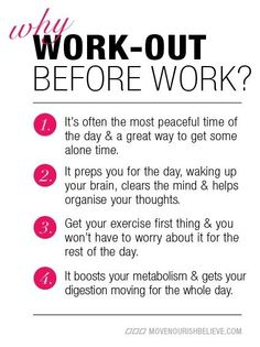 Why workout before work? (fitness, tip, exercise, fit, health) Sport Motivation, Fitness Motivation, Monday Motivation, Sport Fitness, Fitness Tips, Fitness Quotes, Morning Workout Quotes, Workout Qoutes, Morning Workout Motivation