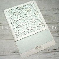 CHRISTENING LASER CUT CARDS CLA115 WHITE (CRYSTAL)