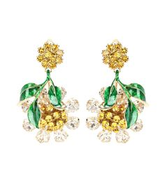 White, yellow and green crystal-embellished clip-on earrings