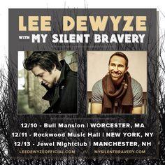 MY SILENT BRAVERY THIS WEEKEND! #Tour dates supporting @LeeDeWyze! Sat Dec 10 @bull_mansion MA, Sun Dec 11 @RockwoodNYC, & Tues Dec 13 Jewel Night Club  NH!