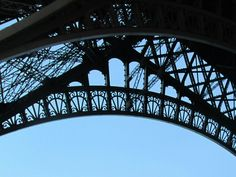 paris eiffel tower iron lace edging from below