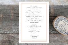 """""""Eloquence"""" - Traditional, Classical Wedding Invitation Petite Cards in Vanilla by Kimberly FitzSimons."""