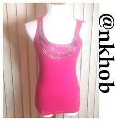 "Hot Pink Tank Top Decorated bodice, hot pink tank top Bust 15"" waist 13"" length 22 1/2"" EUC (CB2) Express Tops Tank Tops"