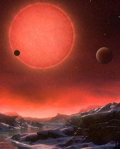 Imagined view from the surface one of the three planets orbiting an ultracool dwarf star just 40 light-years from Earth