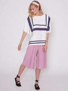 Premium: Mayfair Pink Pleat Front Leg Knee Length Culottes
