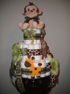 Jungle themed Diaper cake for my Sister's baby shower.
