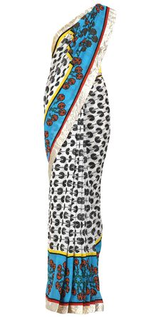 Digital print pacman saree with yellow blouse by SURENDRI BY YOGESH CHAUDHARY. Shop at https://www.perniaspopupshop.com/whats-new/surendri-by-yogesh-chaudhary-5