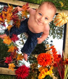 18 Cute Fall Baby Pictures That You Can Take Yourself - Just Simply Mom Baby Pumpkin Pictures, Halloween Baby Pictures, Baby First Halloween, Baby In Pumpkin, Fall Baby Pictures, Baby Boy Photos, Fall Baby Pics, Fall Photos, 6 Month Baby Picture Ideas