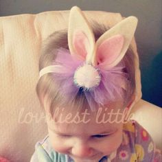 Bunny Ears Tulle Bow Headband // Easter // Spring // Baby on Etsy Tulle Bows, Ribbon Bows, Ribbons, Diy Headband, Ear Headbands, Barrettes, Hairbows, Diy Hair Bows, Diy Hair Accessories