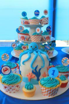 Under The Sea Birthday Party: blue octopus cake white chocolate mud cake recipe ocean sea theme party printable decorations cupcake wraps boys party ideas