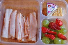 turkey slices, laughing cow cheese with whole wheat crackers, and fruit