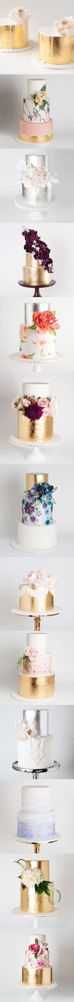 Tartas y pasteles de boda en color oro, y flores, diseños 2016. metallic cakes - my kind of wedding cakes! Bring on the gold :) | https://lomejordelaweb.es/