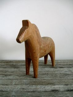 beautiful simple unpainted carved dala horse wooden swedish mid century plain primitive wood sweden folk art olsson