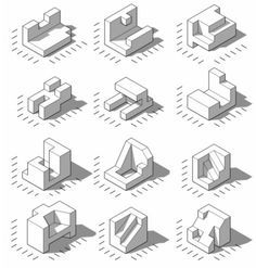 Isometric Projections by Daniel Wyllie Isometric Drawing Exercises, Isometric Art, Isometric Design, Orthographic Drawing, Shadow Drawing, Perspective Drawing, Concept Architecture, Technical Drawing, Drawing Techniques