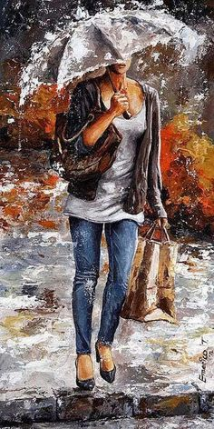 Fine Art and You: Emerico Toth | Hungarian Painter | Ladies in Rain