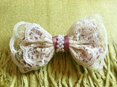 HAIR ACCESSORIES - hair bows: Satin Wine Ribbons & Strings of Pearl accented Lace Bow Hair Barrette. $12.50, via Etsy.