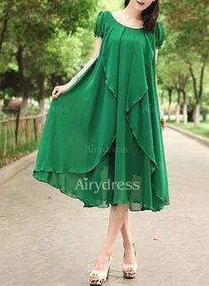 Chiffon Solid Short Sleeve Mid-Calf Elegant Dresses (1030878) @