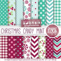 Christmas Candy Mint Digital Paper  patterns Mint Red Teal Turquoise Backgrounds for blog invitations labels party printables candybar