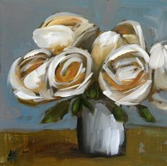 cream roses in vase    8 x 8 inches with white border (20.32 x 20.32 cm)    digital print on heavy paper using professional HD inks and