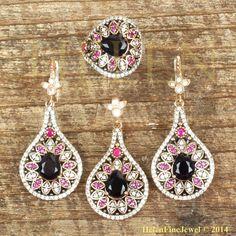 Hurrem Sultan Set Tear Drop Shape Sapphire Color Look Ottoman Silver Jewellery  #Unbranded