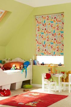 Bright colours and fun patterns create a brilliant look for a child& room. Our Snap Orange Roller blind works wonderfully! Skylight Blinds, Made To Measure Blinds, Blackout Blinds, Cool Patterns, Traditional Design, Interior Inspiration, Toddler Bed, Kids Room