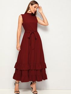 To find out about the Mock-neck Layered Ruffle Hem Self Belted Dress at SHEIN, part of our latest Dresses ready to shop online today! Elegant Dresses, Vintage Dresses, Casual Dresses, Belted Dress, Dress Skirt, Bodycon Dress, Dress Outfits, Fashion Dresses, Western Dresses