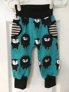 Baby Jogger Pants, Size 9-12 Months, Turquoise, Black, Hedgehogs, Faux Pocket Pants, Trendy Fashion Baby, Best Shower Gift, Baby Girl, Boy