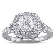 GIA Certified 1-5/8ct TDW Cushion-Cut Diamond Double Halo Engagement Ring in 14k White Gold by The Miadora Signature Collection (Size 6.5), Women's