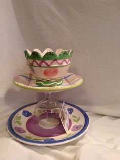 DIY up cycled ceramic tiered chip and dip or treat plate $10 @ HUGgifts