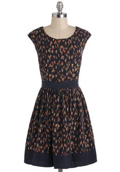 Rainy Daydreaming Dress - Mid-length, Blue, Orange, Print, A-line, Cap Sleeves, Party, Work