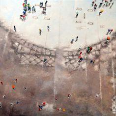 Olivier Robin  Paris sous la pluie 2  60x60 Cm  Huile sur toile
