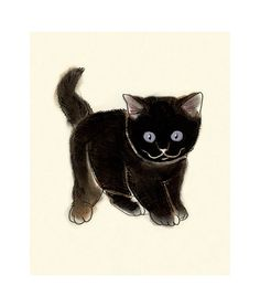 Cat Art   Bright Eyes  4 X 6 print by matouenpeluche on Etsy, $6.50
