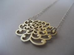 Sterling Silver Chyrsanthemum Necklace : In China, the chrysanthemum is sometimes said to represent nobility and grace.